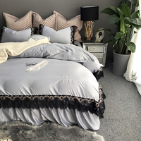 Silver gold black lace silk cotton bedding sets Queen King size 6pcs duvet cover+Bedskirt+pillowcases+cushion cover