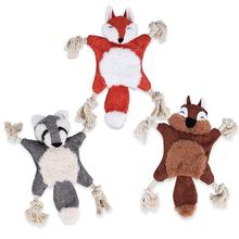 1pc Plush Fox Squirrel Bear Squeak Toy for Dogs Chew Toys Bite Resistant Cleaning Teeth Dog Puppy Accessories