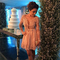 2016 Champagne Lace Cocktail Dresses with Jacket Long Sleeves Sexy Short Party Dresses Mini Homecoming Gowns Vestidos de Venda