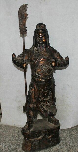 wholesale factory 46 China Bronze Stand Folk sword font b knife b font Guan Gong Yu