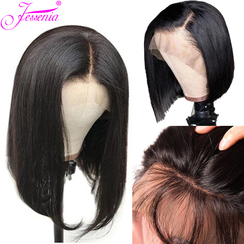 Short Bob Lace Front Wigs For Black Women Glueless 13*4Lace Front Human Hair Wigs Pre Plucked Remy Hair Brazilian Bob Wig