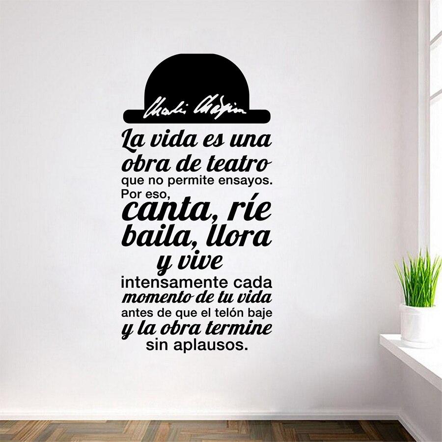 Citação espanhola la vida es uma obra de teatro vinil adesivo de parede decalques arte para sala de estar decoração casa decoração SPS-4