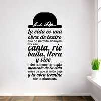 Citation espagnole La vida es una obra de teatro vinyle Sticker mural stickers Art pour salon décor maison décoration SPS-4