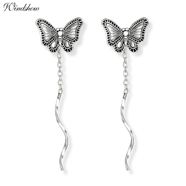 Vintage 925 Sterling Silver Cute Erfly Theader Through Bar Chain Tels Drop Dangle Earrings For Women