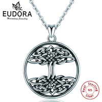EUBORA 925 Sterling Silver Tree of Life Pendant Necklace Irish Celtics Knot Crann Bethadh Charm Necklace jewelry For Women Gifts