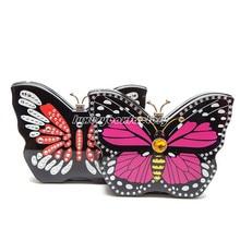 Designer 3D Butterfly Rhinestone Women Evening Clutch HandBag Party Purse Hard Box Bolsa