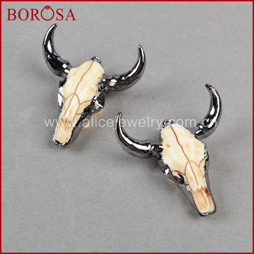 BOROSA OX Headbead Black Gun Color <font><b>Longhorn</b></font> Cattle <font><b>Charm</b></font> Bead Buffle Resin Horn Cattle Pendant for Jewelry Accessories B0842 image