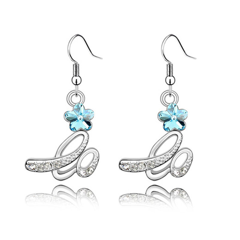Silver Rhinestone Flower Bridal Earrings 1