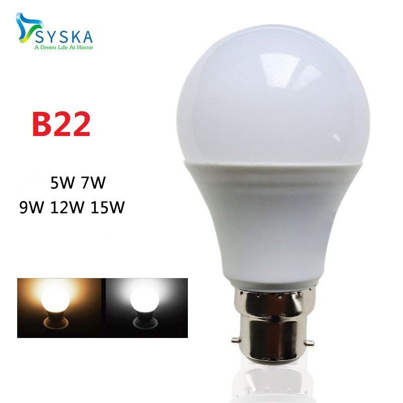 b22 led lamp bayonet 5w 7w 9w 12w 15w 220v cold warm white. Black Bedroom Furniture Sets. Home Design Ideas