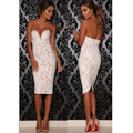 O Laço branco Sexy V Neck Strapless Bandage Vestido Floral Crochet Mulheres Vestido de Renda Plus Size Sexy Bodycon Vestido de Noite Clubwear