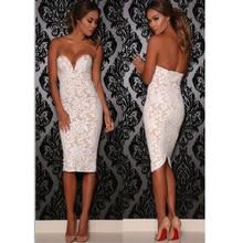 Beyaz Dantel Seksi V Boyun Straplez Bandaj Elbise Çiçekli Tığ Bayanlar Dantel Elbise Artı Boyutu Seksi Bodycon Elbise Gece Clubwear