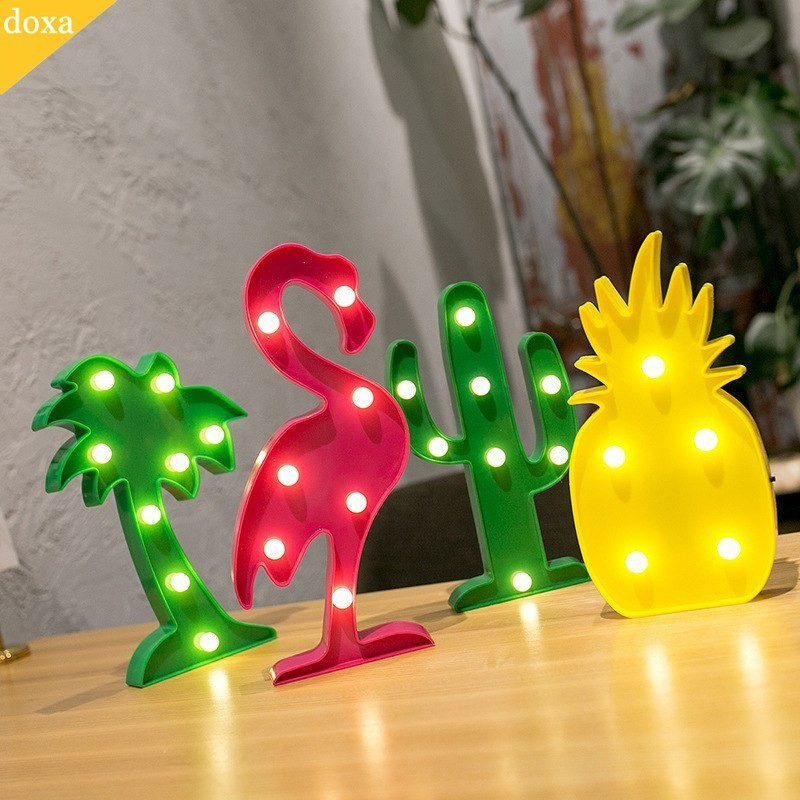 doax 3D LED Star Heart Flamingo cactus Pineapple Christmas Tree Wall Desk Lamp Party Decoration Night Light AA Battery Powered christmas tree star print tapestry wall hanging art%2