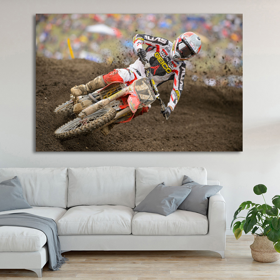Dirtbike Moto Motocross Race Racing Sport Wall Art Poster Canvas ...