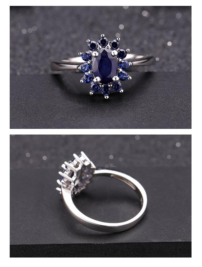 safira pedras preciosas anel 925 prata esterlina