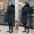 2016 New Woman Coat black Large fur collar hooded Long coat  Zipper outwear Korean version winter jacket