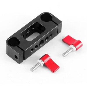 Image 3 - 15mm çubuk Rig kelepçe çift delik 1/4 3/8 iplik telefoto Lens tutucu destek ray fotoğraf sistemi DSLR kamera kafesi