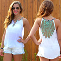 2016 New Fashion Women Lace Hollow Out Chiffion Tops  Sexy Sleeveless Solid Plus Size Crop Tops