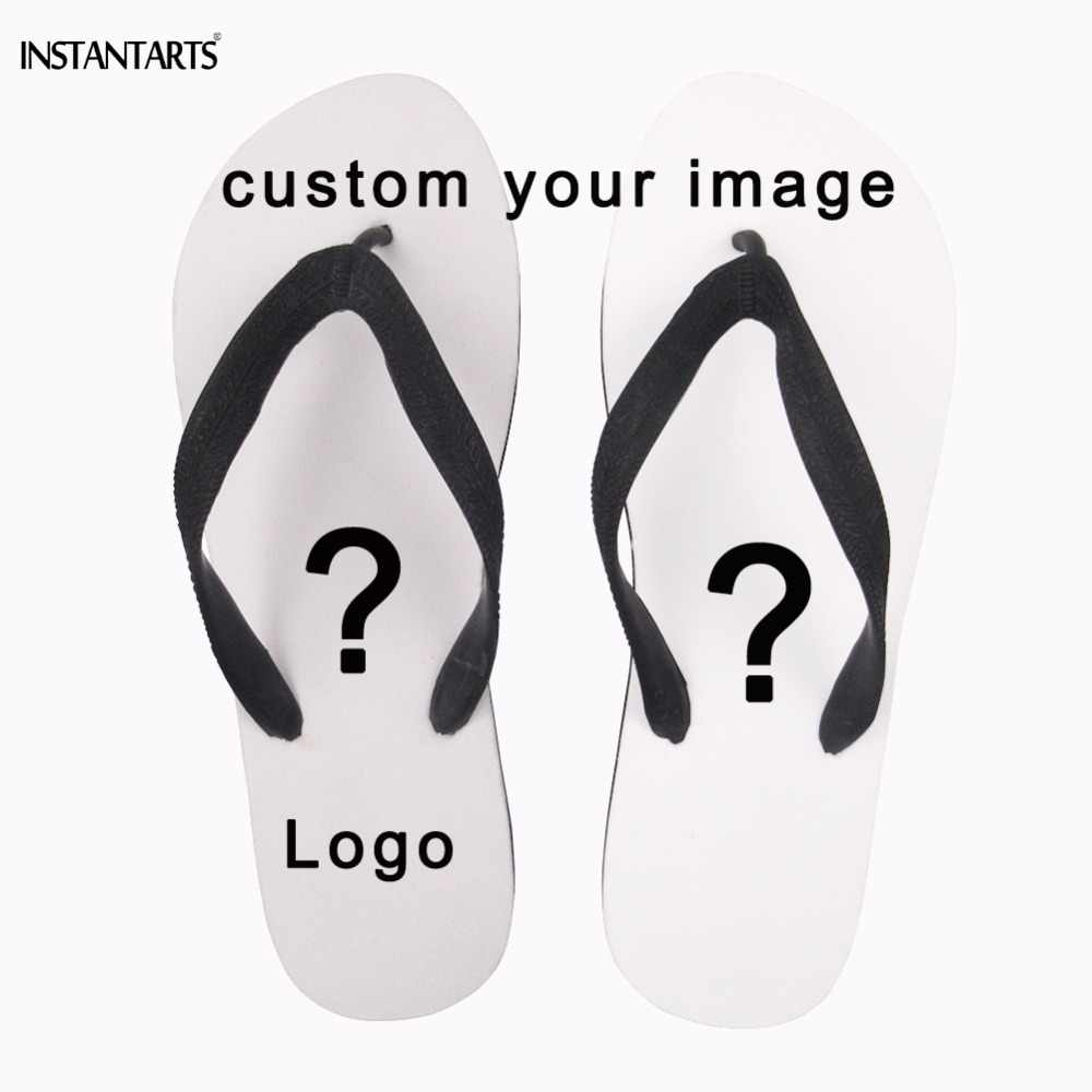 aa5eaf0b INSTANTARTS Custom Your Logo/Image/Photo Print Woman Summer Flip Flop Diy  Your Own