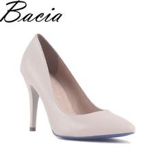 Bacia/бежевый овчины летние туфли-лодочки 10 см каблук мягкая натуральная кожа высокий каблук качество ручной работы Элегантные женские туфли новые SB017