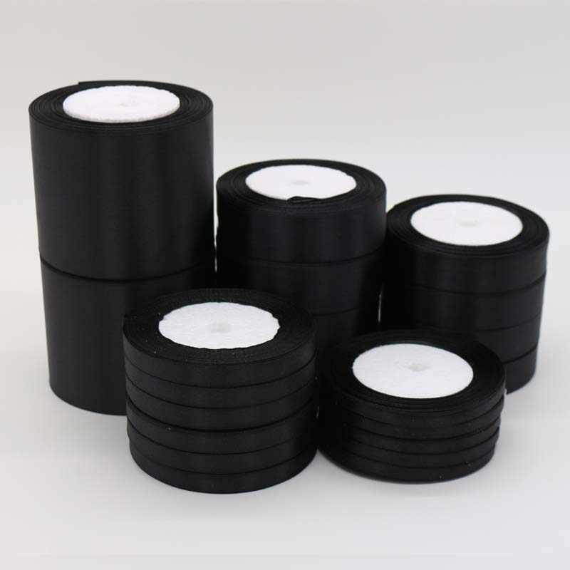 """חתיכה אחת 25 מטרים שחור משי סאטן סרט עבור מסיבת חתונת קישוט מתנת גלישת הלבשה אביזרי wholesales 6 מ""""מ- 75 מ""""מ"""
