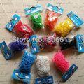 (Livre DHL/FedEx) 100 jogos/lote Mix 10 Cores DIY Pulseiras Kit Borracha Loom Bandas Recargas (600 bandas + 24s-Clips/Set)