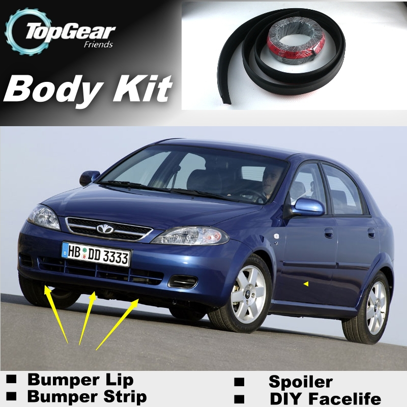 Bumper Lip Lips For Daewoo Lacetti J200 2002~2008 / Top Gear Shop Spoiler For Car Tuning / TOPGEAR Recommend Body Kit + Strip