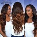 3 Bundles Ombre Brazilian Virgin Hair With Closure Mink Brazilian Body Wave With Closure Ali Unice Ombre Human Hair With Closure