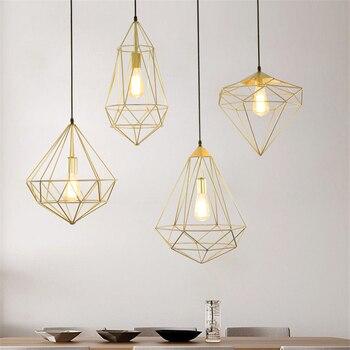 Retro Iron Net Loft Suspension LED Pendant Lights Bedroom Dining Room Lighting Fixture Pendant Lamp Diamond Hanging Light Lamps