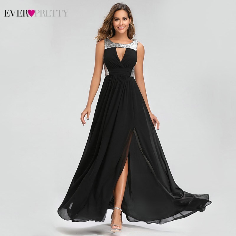 Sexy Sequined   Evening     Dresses   Ever Pretty EZ07631BK A-Line O-Neck Side Split Elegant Black Formal Party   Dresses   Dluga Sukienka