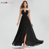 Sexy Sequined Evening Dresses Ever Pretty EZ07631BK A Line O Neck Side Split Elegant Black Formal Party Dresses Dluga Sukienka