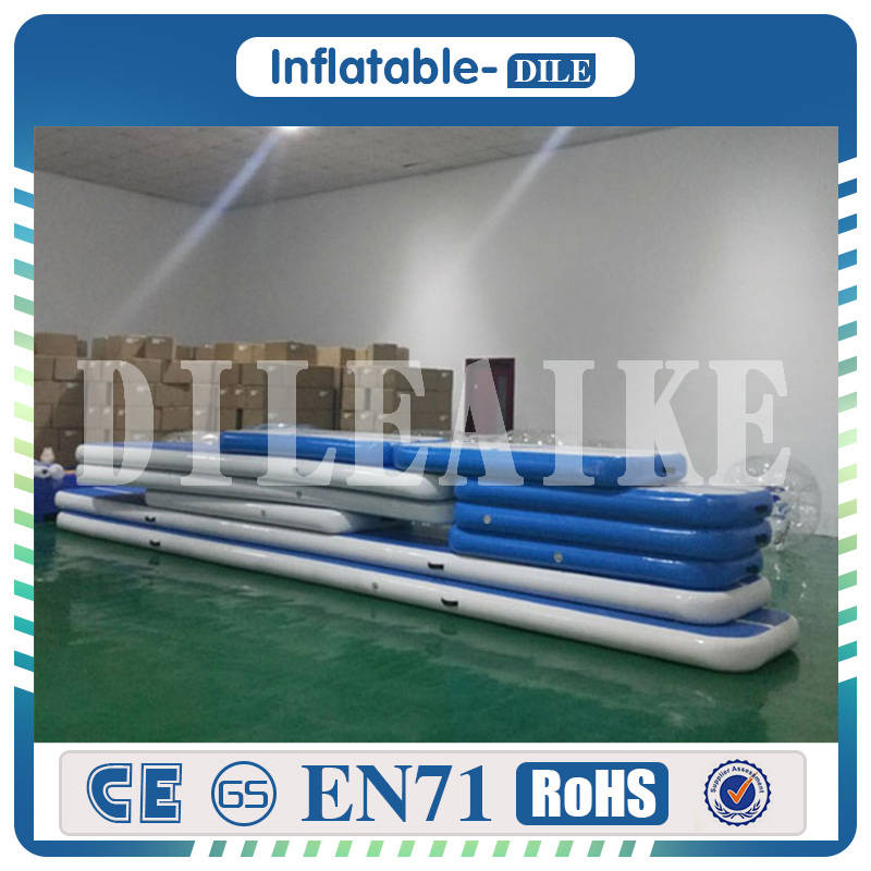 Хорошее качество 400x100x20 см синий надувной воздушный трек надувной батут в стиральной машине трек тхэквондо тренажерный зал воздушный Коври...