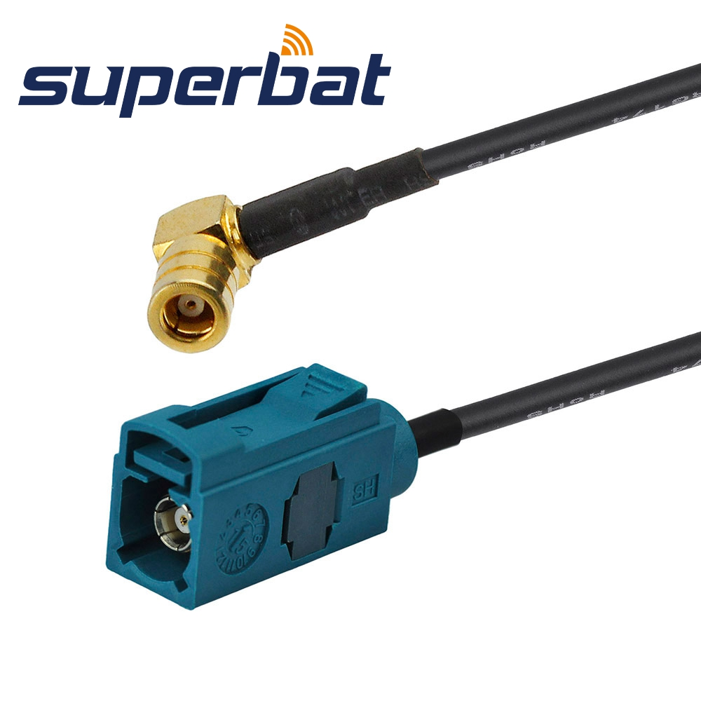 Superbat Car DAB+ Satellite Radio Pigtail Cable Fakra Z Neutral Coding Female Jack To SMB Plug Male Right Angle RG174 15cm