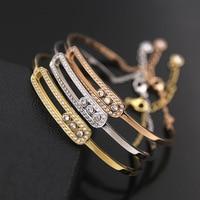 High Quality Titanium Steel Ornament OL Shaped Three Rhinestone Bracelet for women Tricolor