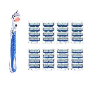 1 punho + n lâminas de barbear para homens lâminas de barbear 5 camadas lâmina de barbear para cuidados com o rosto compatível com gillettee fusione navalha|Lâmina de barbear| |  -