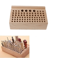 76 Holes Craftool Wood Tool Stamp Stand Beech Rack Leather Holder DIY Craft Supplies