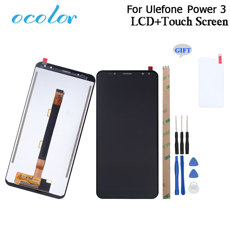 ocolor For Ulefone Power 3 LCD Display+Touch Screen 6.0 Digitizer Assembly Replacement With Tools+Glass For Ulefone Power 3S
