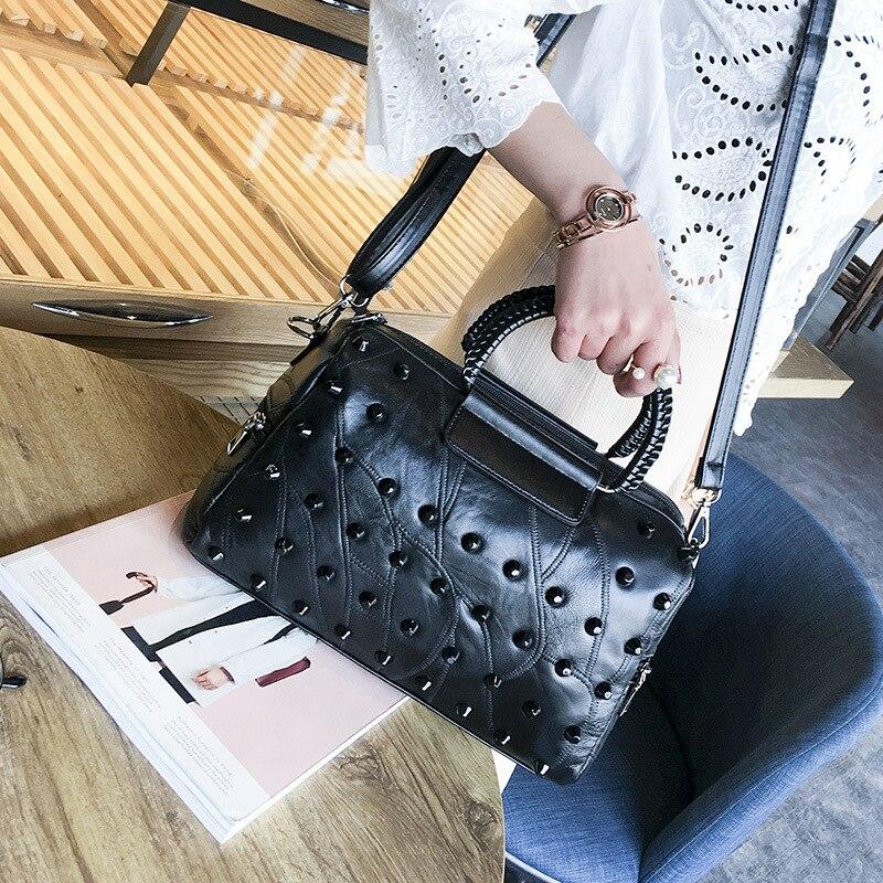 Top Fashion Genuine Leather Handbag Women Messenger Bags Famous Brand Patchwork Luxury Bag