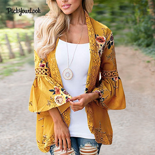a5ed1fa6468 PickyourLook Women Plus Size Cardigan Long Sleeve Print Tops Lace Cardigan  Autumn Patchwork Lady Floral Kimono Cardigan Outwear