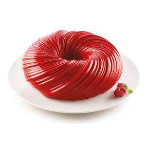 SHENHONG New Round Swirl Cake Mold For Baking Amazing Dessert Art Mousse Silicone 3D Mould Silikonowe Moule Pastry Pan(China)