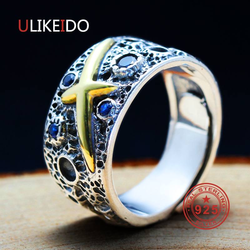 100 Pure 925 Sterling Silver Jewelry Cross Rings Star Blue Opening Vintage Men Signet Ring For Women Special Gift 0036 in Rings from Jewelry Accessories