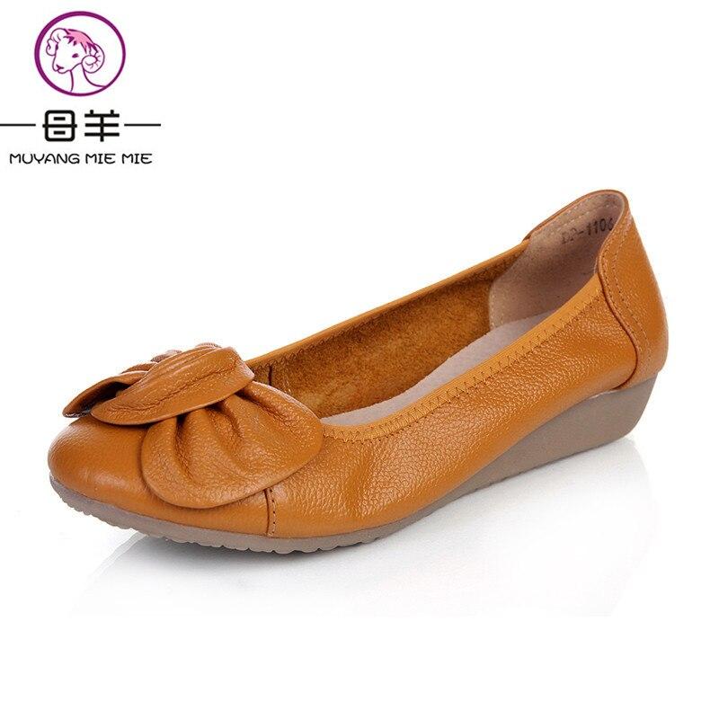 9 Colores Más El Tamaño (34-43) Zapatos de Mujer Mocasines Planos de Cuero Genui