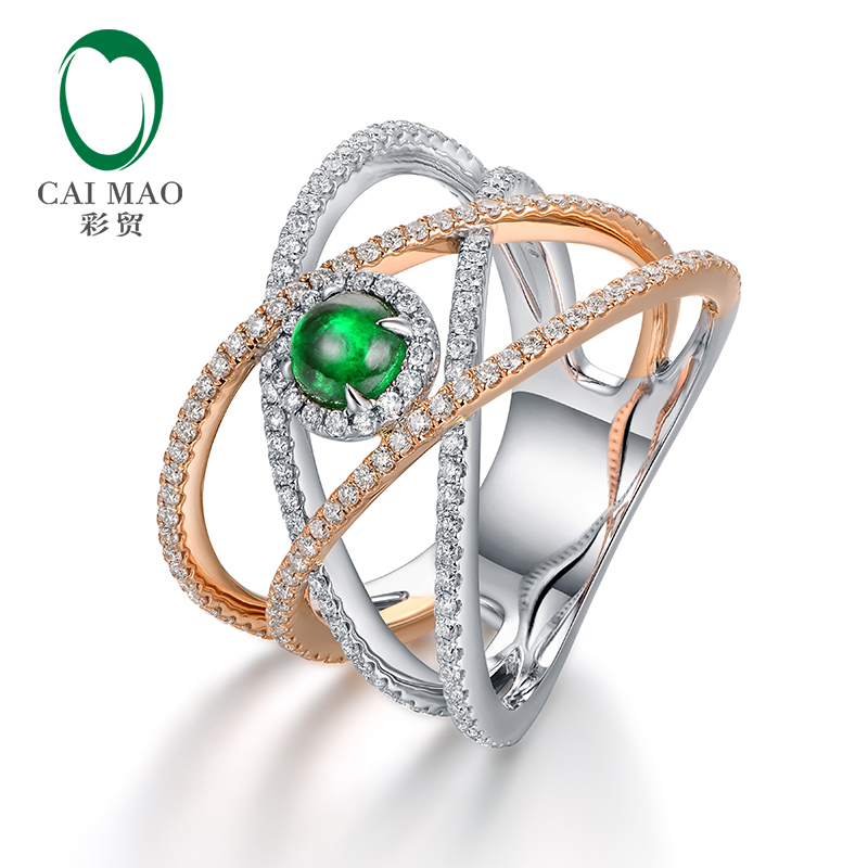 Caimao 0.45ct Natural Cabochon Emerald 14kt Two Tone Gold Full Cut Diamond Engagement Ring for Unisex caimao exquisite jewelry natural cabochon cut emerald baguette cut diamond 14kt white gold drop earrings
