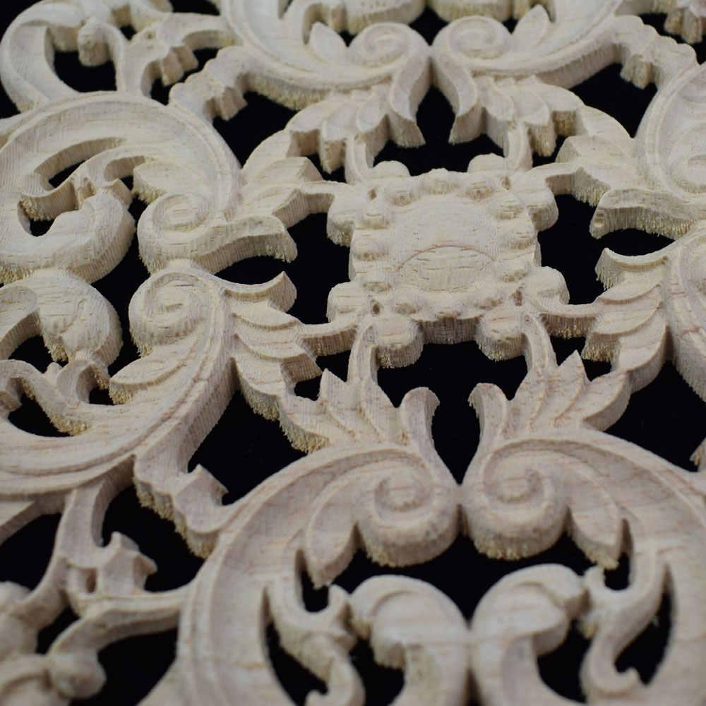 20/24 см из натуральных тканей с цветочным узором дерево наклейки с резьбой Европейский Стиль наклейка с резьбой по дереву мебель резные аппликация аксессуары для украшения дома