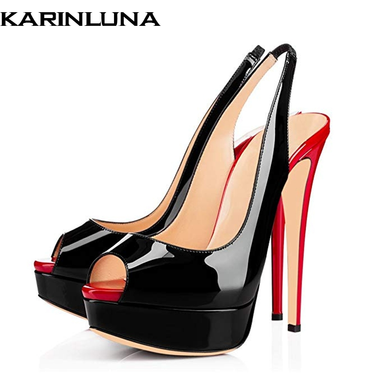 Karinluna 2019 plus size 45 brand design summer mixed colors party Shoes Woman sexy high heels peep toe platform pumps sandals