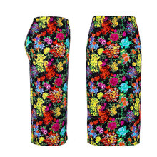 FEITONG Women Summer Skirt Pencil Knee-Length Elastic High Waist Print flowers Skirt Casual Cotton Knee-Length Skirt wholesale