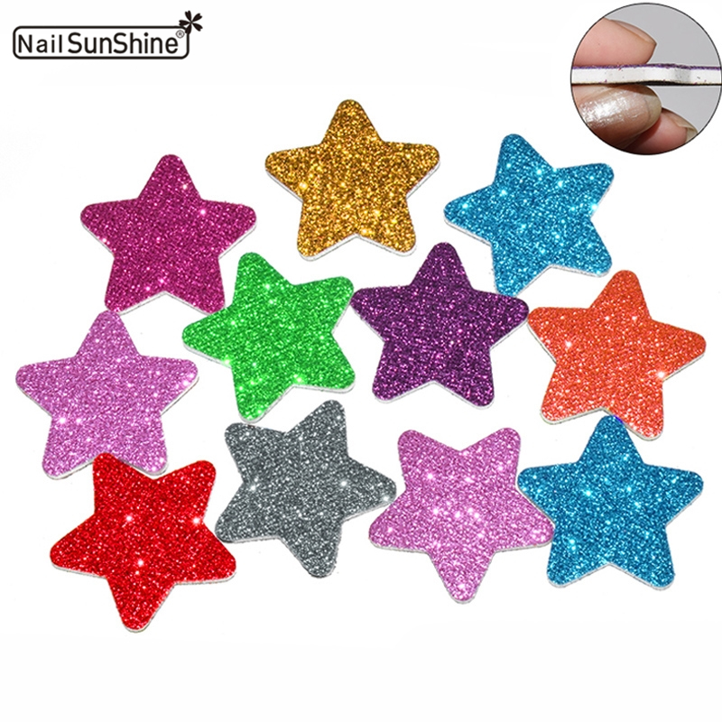 50pcs/lot Mini Nail Files Buffer Block Sanding Sponge Star Disposable Colorful Limas Para Manicura Maquiagem Toolboard Pedicure