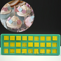 DIY Bakeware Alphabet Blocks Baby Shower Silicone Mold Chocolate Fondant Cake Mold Cupcake Decorating Tools