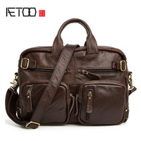 AETOO New leather men 's bag fashion casual men' s head layer of cowhide shoulder