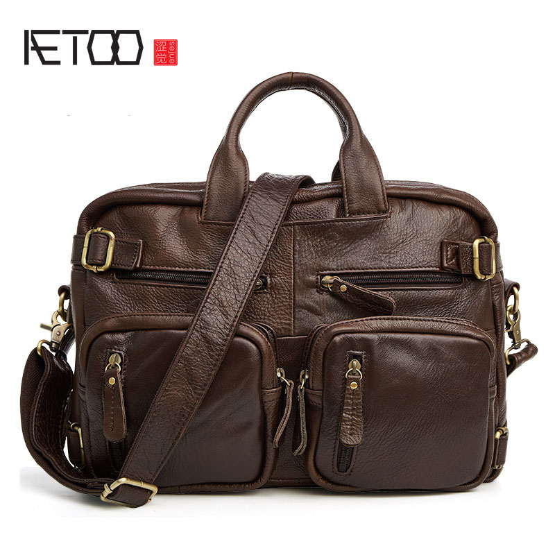AETOO New leather men 's bag fashion casual men' s head layer of cowhide shoulder men s leather oblique cross chest packs of the first layer of leather deer pattern men s shoulder bag korean fashion men s bag