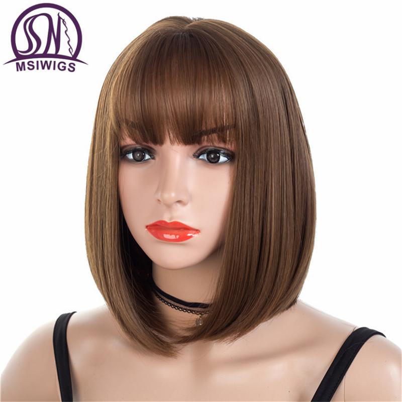 MSIWIGS Brown Short Wigs Bob Style Straight Synthetic Black Women's Wig With Bangs 12 Inches Soft Hair Blonde Wig